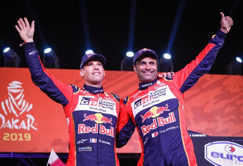 Nasser Al-Attiyah et Mathieu Baumel, vainqueurs du Dakar 2019