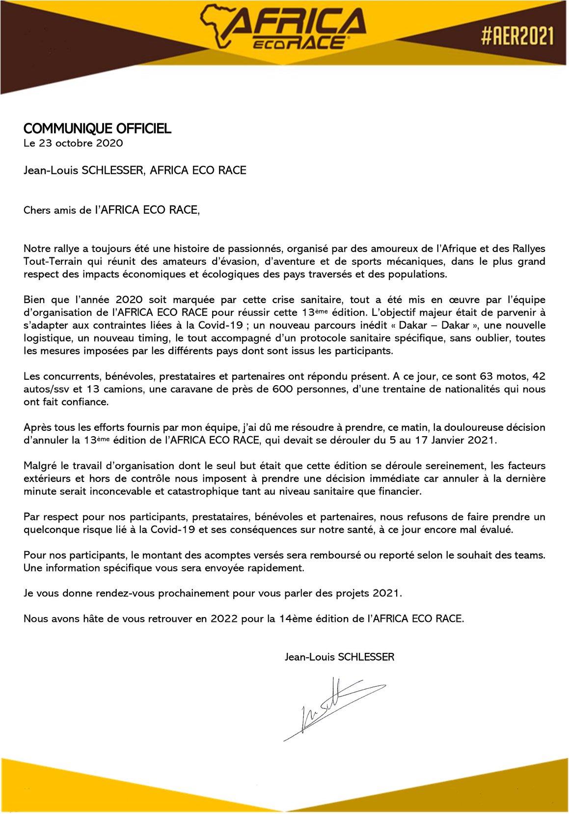 AER 2021 : pas de course en janvier