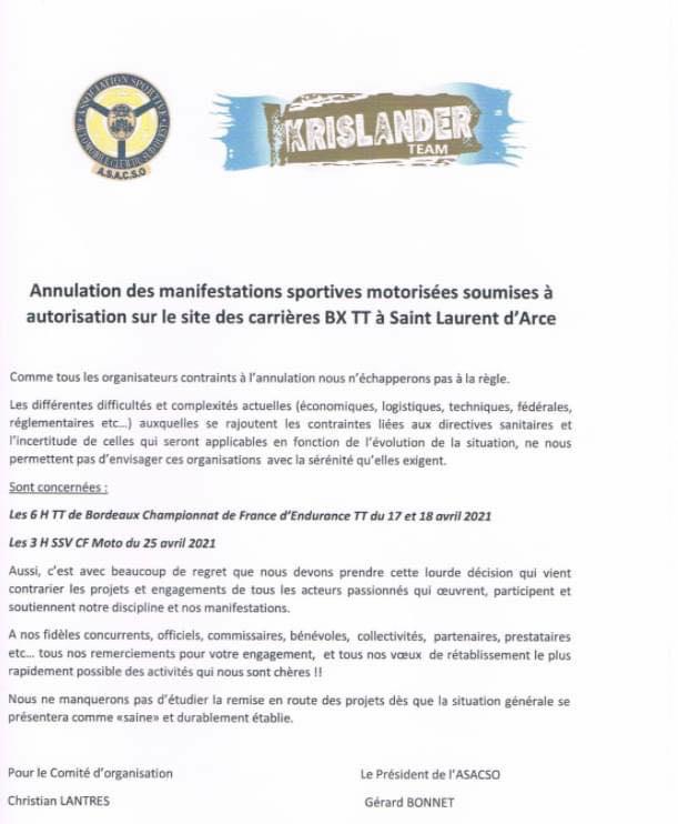 Les 6h TT de Bordeaux annulés