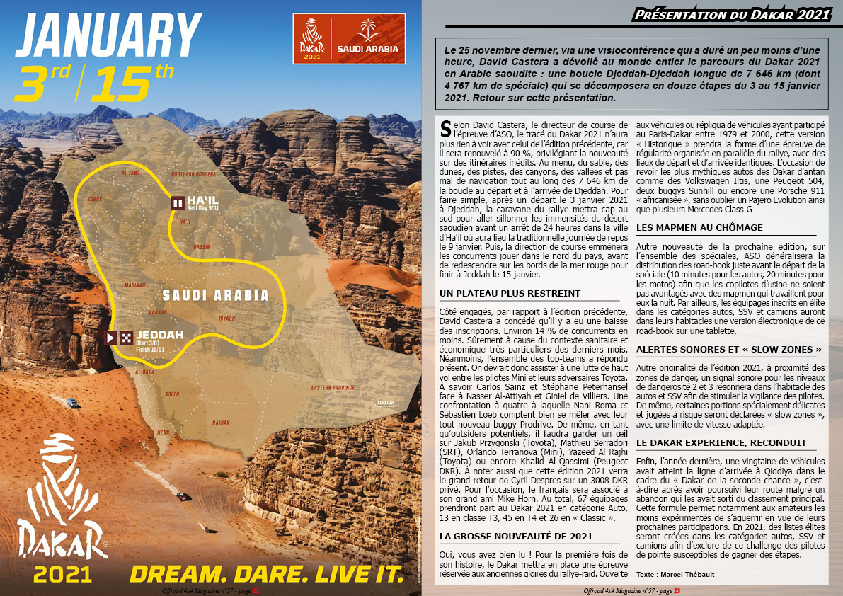 Dossier Dakar Rally 2021