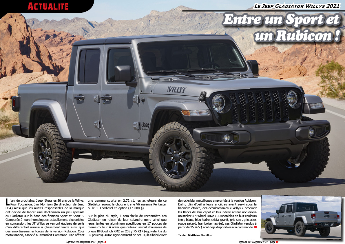 le Jeep Gladiator Willys 2021