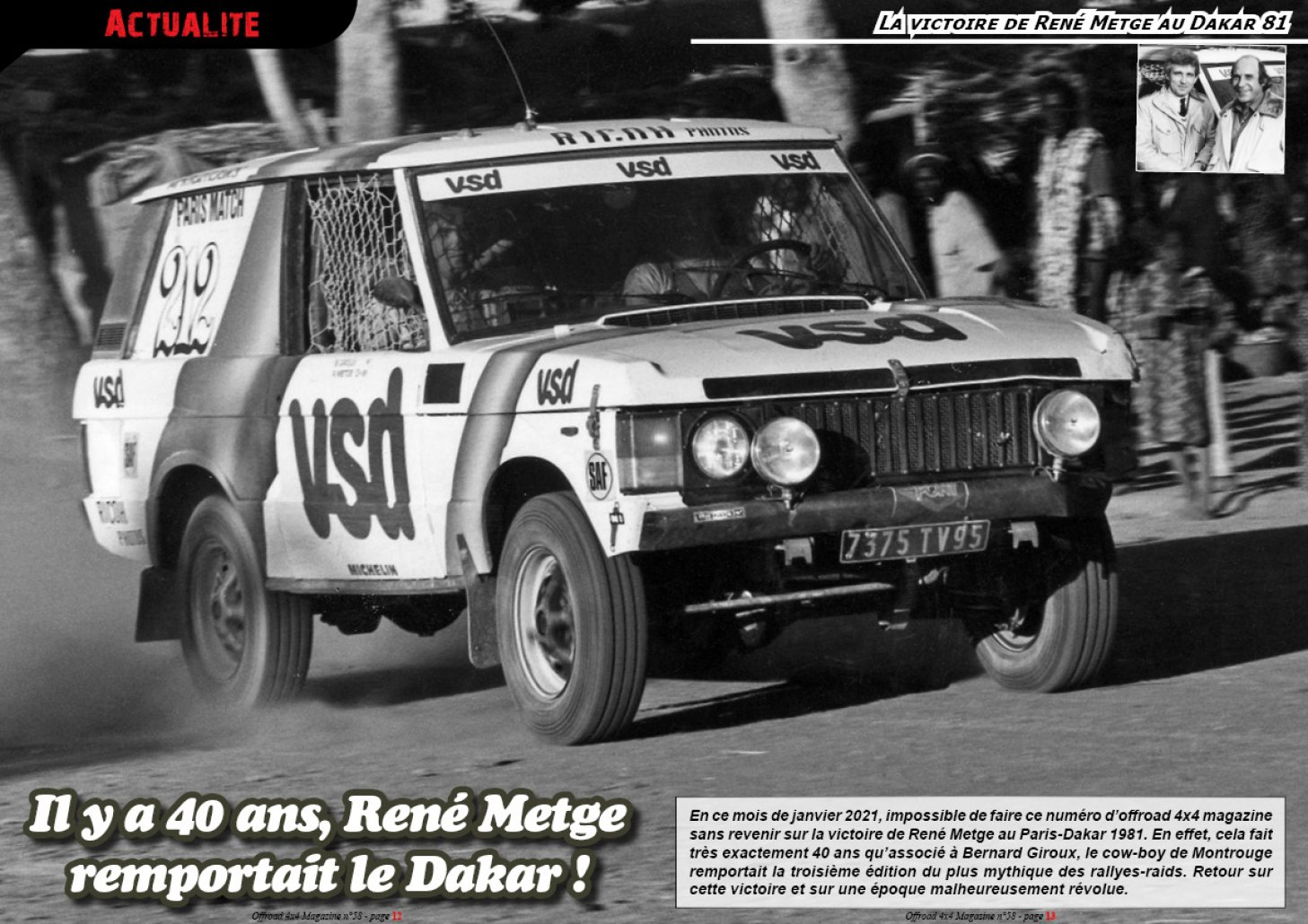 La victoire de René Metge au Dakar 81
